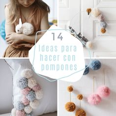 14 ideas creativas para hacer con pompones - Guía de MANUALIDADES Ideas Paso A Paso, Crafts To Make, Crochet Necklace, Creative, How To Make, Diy, Home Decor, Feng Shui, Buttons