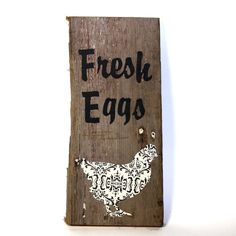 Barn Wood Sign Chicken Fresh Eggs Black and White by KotiBeth, $30.00
