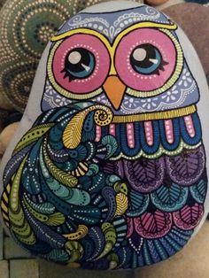 Hand painted stone Owl by ShePaintsSeaStones on Etsy