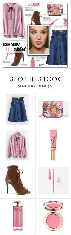 """Romwe 10"" by smajlovicelvira ❤ liked on Polyvore featuring Too Faced Cosmetics, Gianvito Rossi and Prada"