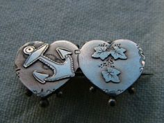 Pretty Antique Victorian Silver Sweetheart Brooch Bir 1899