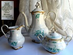 Hand-painted porcelain tea set - tea pot, sugar bowl and cream jug creamer by Ilmenau Count Von Henneberg. Teal Green floral design, gold gilt. Tea pot. Coffee pot.