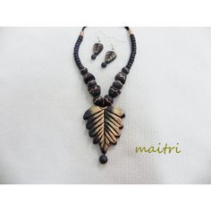 Terracotta Jewellery_Black Leaf    maitri_crafts@yahoo.com    http://www.facebook.com/pages/Maitri/124757107652514?ref=hl