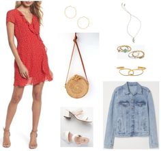 Red ruffled faux-wrap short-sleeved dress with small white polka dots, medium-sized gold zig-zag hoop earrings, tan round woven rattan cross-body bag with cognac-brown leather shoulder strap, white chunky-heeled double-strap mule sandals, gold necklace with rose pendant, set of four rings that includes gold ring with turquoise enamel, gold ring with clear stone, gold ring with three clear stones, and silver ring with triangle, gold loop cuff bracelet with chain going through, light-wash…