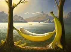 Russian artist Vladimir Kush was born in Moscow and is a surrealist painter and sculptor. He defines his art as metaphorical realism instead surrealism. His paintings are fascinated by fantasy stories. His paintings looks like influenced by Salvador Dali. Vladimir Kush, Salvador Dali, Surrealism Painting, Artist Painting, Photos Rares, Banana Art, La Banana, Banana Split, Jean Arp