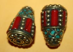 Nepal Tibetan Turquoise Coral Beads 2 beads by goldenlines on Etsy