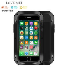 Love Mei for iphone 7 plus 5.5 Waterproof Shockproof Gorilla Glass Metal Aluminum Case Cover i7 plus Three proofing cases