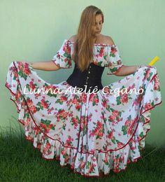 Modelo Encanto Florido saia cigana floral gypsy skirt dança cigana gypsy dance floral skirt www.facebook.com/ateliecigano