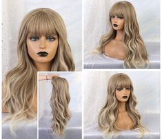 Loose Curls Hairstyles, Wavy Curls, Wig Hairstyles, Brown Hair With Blonde Balayage, Blonde Wig, Ash Blonde, Remy Human Hair, Human Hair Wigs, Wigs With Bangs