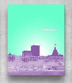 Personazlied Holiday Gift Savannah GA Skyline Art Poster New Office Wall Any