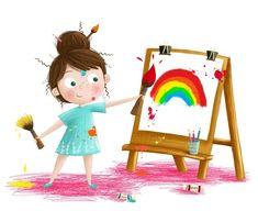 New Ideas Children Illustration Girl Fun Painting For Kids, Drawing For Kids, Art For Kids, Children Drawing, Art Children, Children's Book Illustration, Character Illustration, Cartoon Drawings, Cute Drawings