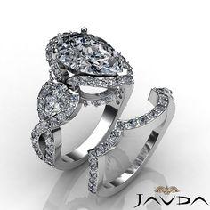 3 Stone Pave Pear Bridal Set Diamond Engagement Ring GIA G VS2 Platinum 3 88 Ct | eBay