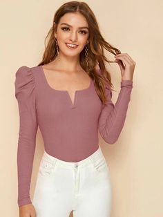 To find out about the Notch Neck Puff Sleeve Rib-knit Tee at SHEIN, part of our latest T-Shirts ready to shop online today! Cute Ripped Jeans, Leg Of Mutton Sleeve, Fashion News, Fashion Outfits, Shirt Blouses, T Shirt, Sweater Fashion, Types Of Sleeves, Rib Knit