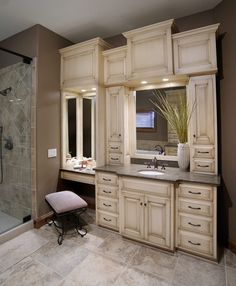 Double Vanity & Makeup Vanity Design  Paneled Mirrors  Master Impressive Bathroom Cabinets Design Review