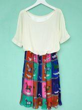 Blue Round Neck Short Sleeve Animal Print Elasic Waist Chiffon Shirt $40.1  #SheInside #hipster #love #cute #fashion #style #vintage