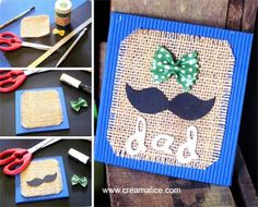 ✩✄✩ Carte Vintage Fête des Pères / Father's Day Mustache Card ✩✄. Easy Arts And Crafts, Easy Crafts For Kids, Toddler Crafts, Crafts To Do, Projects For Kids, Art For Kids, Diy Crafts, Fathers Day Poems, Fathers Day Crafts