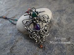 Sterling Silver Necklace Wire Wrapped Necklace With Gemstones. by AtelierMediterraneo on Etsy