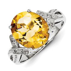 Sterling Silver Oval 5.2 ct Citrine and Diamond Ring