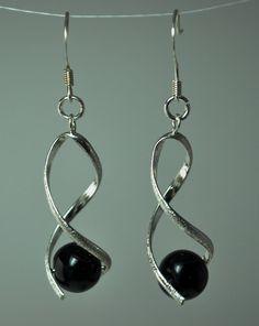 Ornate Silver Swirl Dangle Earrings with Black by TheSandyShell, $12.00