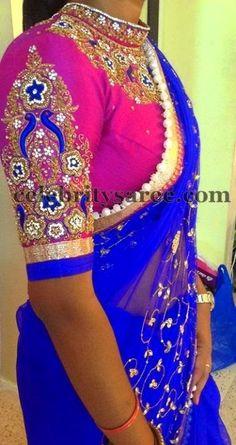 3/4th Sleeves Zardosi Blouse by Mugdha | Saree Blouse Patterns