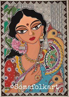 Print Madhubani Lady with and Cockatoos painting Indian Wall decor Bengali Art, Rajasthani Art, Madhubani Art, Madhubani Painting, Indian Wall Decor, Kalamkari Painting, Fabric Painting, Painting Tips, Painting Art