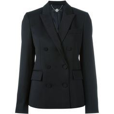 Stella McCartney double breasted blazer (2,540 CAD) ❤ liked on Polyvore featuring outerwear, jackets, blazers, black, double breasted jacket, stella mccartney, stella mccartney blazer, peaked lapel blazer and stella mccartney jacket