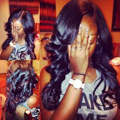 Sew-in with minimal leave out and loose curls.