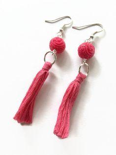 Hot Pink Tassel Earrings Pink Boho Fringe Tassle Dangle Earrings Pink Fringe Tassel Earrings Pink Fringe Earrings Gypsy Jewelry (E185-D) by JulemiJewelry on Etsy