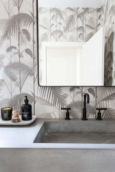 Nothing like a fun and funky wallpaper to liven up a room! We use wallpapers like this sparingly as accent walls to give. Interior Design Companies, Interior Design Studio, Funky Wallpaper, Wallpaper Wallpapers, Tan Leather Sofas, Dining Nook, Bathroom Layout, White Home Decor, Bath Decor