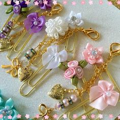 Gold Ribbon Crystals and Pearls Planner Charm BONUS Paper clips for Planners, Books Notebooks Journals, Purse or Traveler's Notebooks Paperclip Crafts, Paperclip Bookmarks, Trombone, Paper Binder, Paper Clip Art, Gold Ribbons, Scrapbook Embellishments, Craft Fairs, Scrapbook Paper