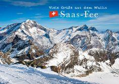 Viele Grüße aus Saas-Fee (Wallis) | Urlaubsgrüße | Echte Postkarten online…