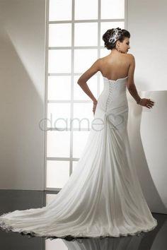 Chiffon Meeresstrand Herz-Ausschnitt A-Linie einfaches trägerloses bodenlanges Brautkleid