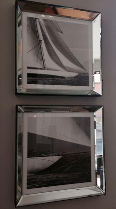 #Quadri con #cornice #quadrata a #specchio con #soggetto #vela.