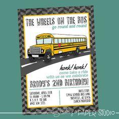 bus invitation bus birthday invitation wheels on the bus, party invitations