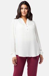 Mynt 1792 Pleat Shoulder Georgette Blouse (Plus Size)