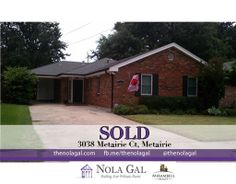 SOLD! 3038 Metairie Ct, Metairie, LA 70002 - $238,400 3bed/2bath Single family home - New Orleans Real Estate http://www.thenolagal.com