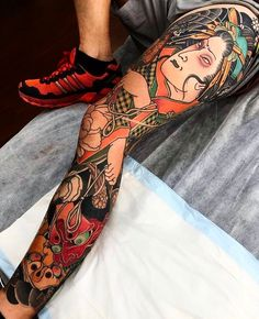 """3,476 Likes, 14 Comments - Japanese Ink (@japanese.ink) on Instagram: """"Japanese leg-sleeve tattoo by @stupagdintattooer.  #japaneseink #japanesetattoo #irezumi #tebori…"""""""