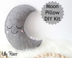 Grey Moon Pillow DIY KIT,  Moon Sewing Kit, Make your own moon softie. Product ID: Lrz1003