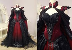 ~Crimson Moon Dragon Gown~ Our customer has an affinity for dragons and commissioned us to design and create a gown that suited her fantasy persona. We used crimson red dupioni silk in her corset, the center panel has dragon scales of black pleather and crystals, each scale has a layer of netting underneath for a shadow effect and giving extra dimension. We gave her an organic pintucked overskirt of organza over her ombre skirt. Her cape is made from the same ombre fabric matching her…