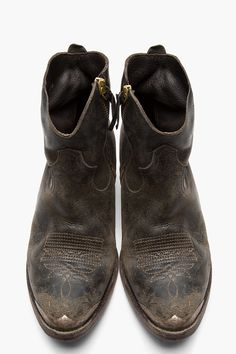 GOLDEN GOOSE Black Leather Embroidered Zip Young Boots