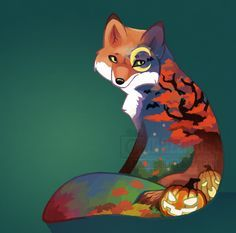 Autumn Fox by Mazzlebee.deviantart.com on @deviantART