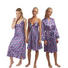 Liwia Satin Delicate Burgundy Nightdress Women Nightwear Lace Insert by DKaren