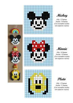 Mickey, Minnie and Pluto hama perler beads pattern - perles à repasser… Hama Beads Disney, Hama Disney, Pearler Bead Patterns, Bead Loom Patterns, Perler Patterns, Pearler Beads, Beading Patterns, Jewelry Patterns, Art Patterns