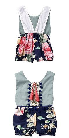 Weixinbuy Baby Girl Cotton Clothes Flower Printed Bodysuit Romper Outfit