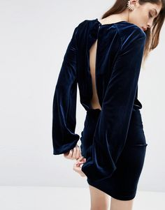 Image 1 of ASOS Blouson Sleeve Velvet Open Back Mini Dress