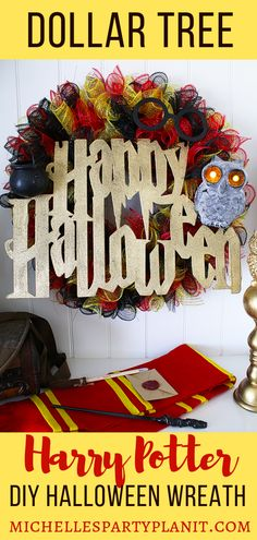 Dollar tree diy harry potter halloween wreath - step by step video tutorial by michelle's party plan-it. Dollar Tree Halloween, Halloween Diy, Halloween Decorations, Halloween Wreaths, Halloween Crochet, Halloween Stuff, Halloween Halloween, Vintage Halloween, Halloween Makeup