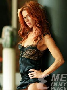 Poppy Montgomery Esquire see-through black lingerie, star of Glory Days, Without a Trace, Unforgettable, and notable Maxim and Esquire shoots, a modern classic beauty. #PoppyMontgomery #redhead #redheads #seethrough #lingerie #underboob