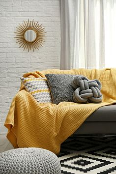 Mustard Living Rooms, Grey And Yellow Living Room, Yellow Gray Room, Yellow Sofa, Yellow Pillows, Yellow Throw Blanket, Yellow Home Decor, Yellow Interior, Living Room Pillows