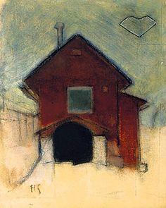 Helene Schjerfbeck - Rött Hus i Ekenäs ca 1920 Helene Schjerfbeck, Nordic Art, Scandinavian Art, Female Painters, Beautiful Sketches, Canadian Art, Abstract Images, Land Art, House Painting
