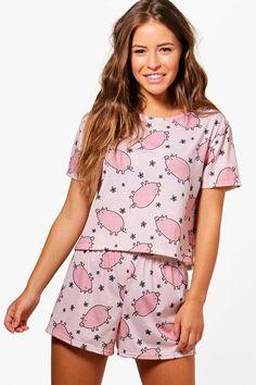 f2ea8dd26747c Petite Charlie Pig Print Pyjama Set in pink | Boohoo pj short sleeve top  with comfy